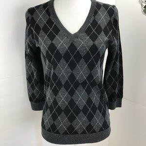 J.Crew. Argyle V neck merino wool sweater M black